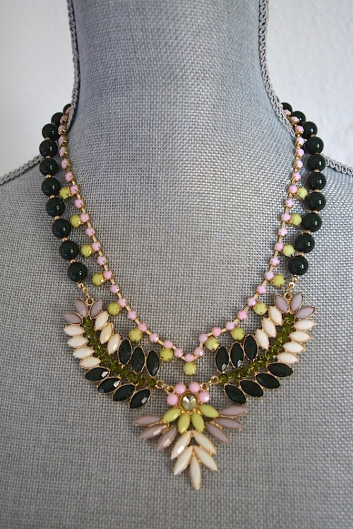 Pink and Black Necklace, Black Jewelry, Pink Necklace, Lime Necklace