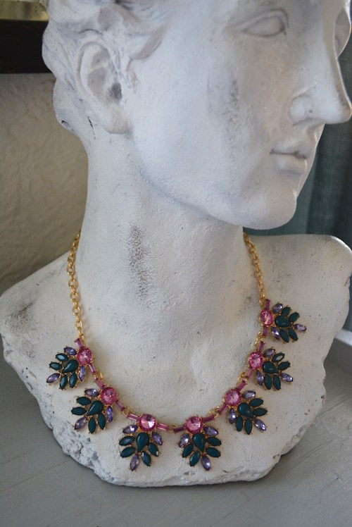 Pink Sapphires Necklace, Medallion Necklace, Pink and Green Necklace