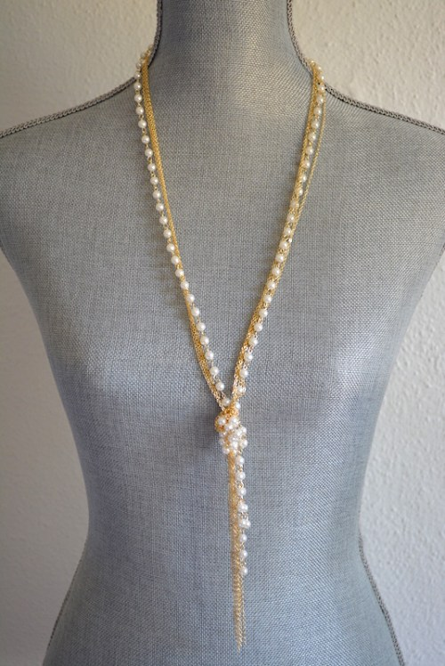 Pearl Lariat Necklace, Pearls and Chains, Pearl Necklace, Lariat Necklace
