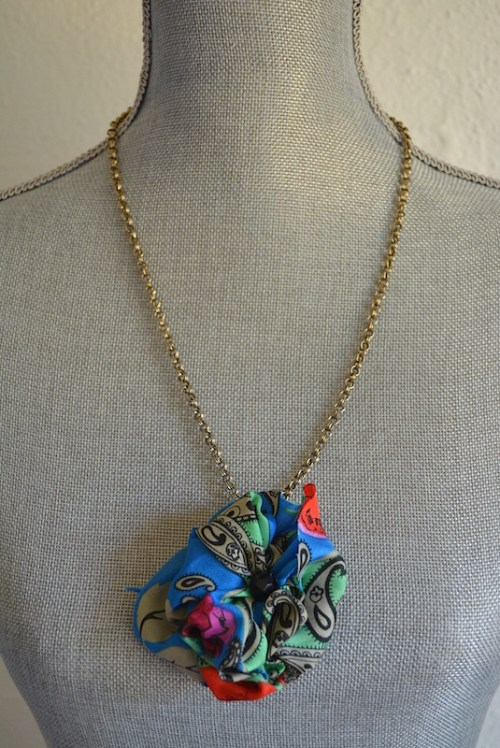Blue Fabric Flower Necklace, Blue Flower, Vintage Material, Blue Print Flower