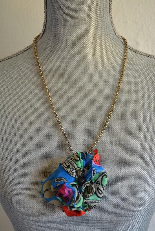 Blue Fabric Flower Necklace, Blue Flower, Vintage Material, Blue Print Flower
