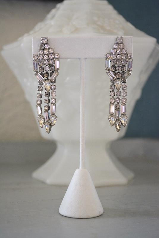 Art Deco Rhinestone Earrings, Vintage Earrings, Vintage Rhinestones, Art Deco Jewelry, Bridal Jewelry, Bride, Prom, Rhinestone Earrings, Baguettes, Pear Shaped