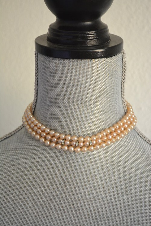 Three Stranded Pearl Necklace,Pearl Necklace, Champagne Pearls, Vintage Pearls