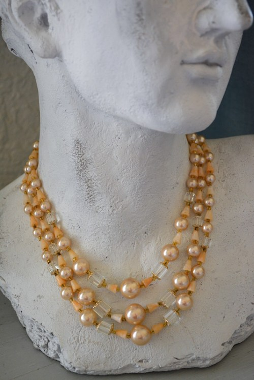 Beige Beaded Necklace, Natural Necklace, Peach Necklace Set, Three Stranded Necklace, Multi Strand Necklace, Multi Layered Necklace