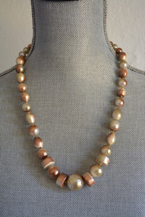 Coffee Beaded Necklace, Brown Beaded Necklace, Taupe Necklace, Mocha Necklace
