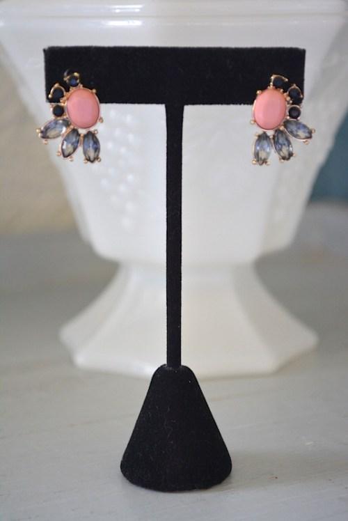 Rose Stud Earrings, Rose Pink Earrings, Pink and Black Earrings, Rose Earrings,Pink Earrings