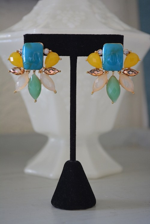Parrot Earrings, Turquoise and Yellow Earrings, Bright Earrings, Turquoise Earrings