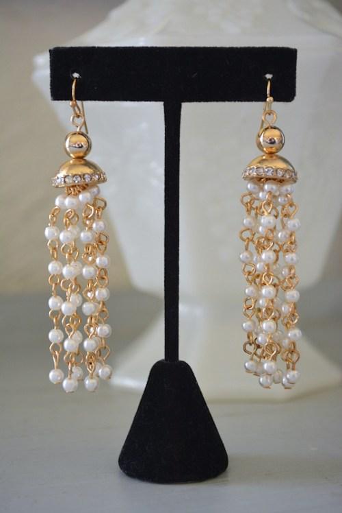 Pearl Fringe Earrings, Pearl Earrings, Pearl Chandelier Earrings,Gold and Pearl Earrings