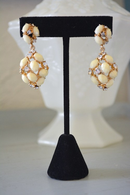 Ivory and Rhinestone Earrings,Ivory Earrings, Cream Earrings, Off White Earrings,Neutral Earrings
