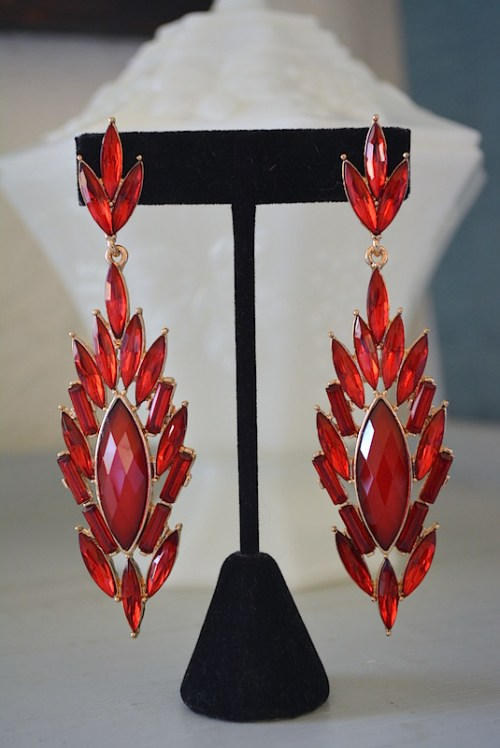 Red Chandelier Earrings,Red Earrings,Ruby Red Earrings,Chandelier Earrings, Fiery Earrings
