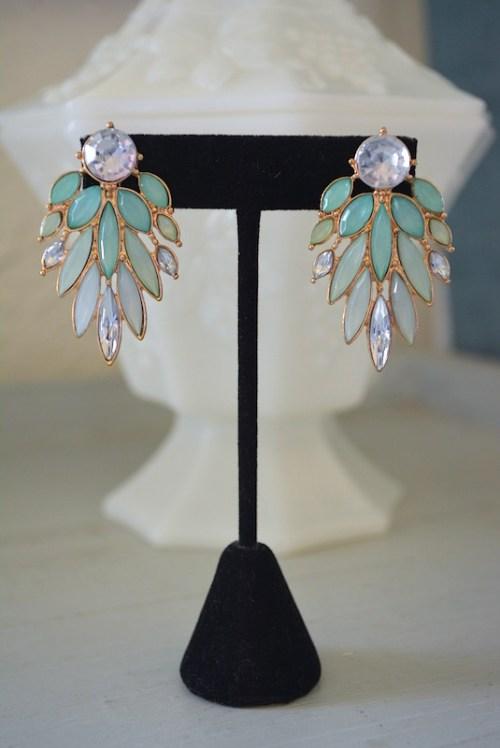 Mint Wing Earrings, Mint Earrings, Mint Ombre Earrings, Green Earrings, Light Green Earrings