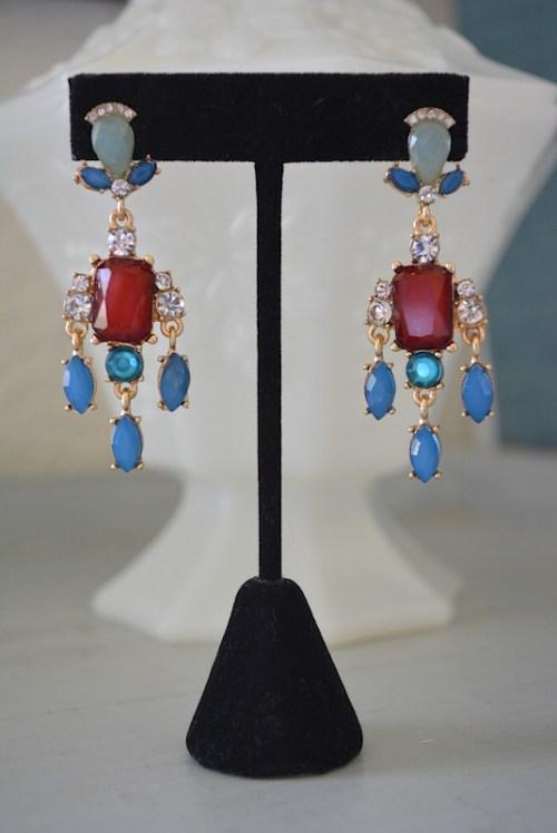 Red and Blue Earrings,Chandelier Earrings,Drop Earrings