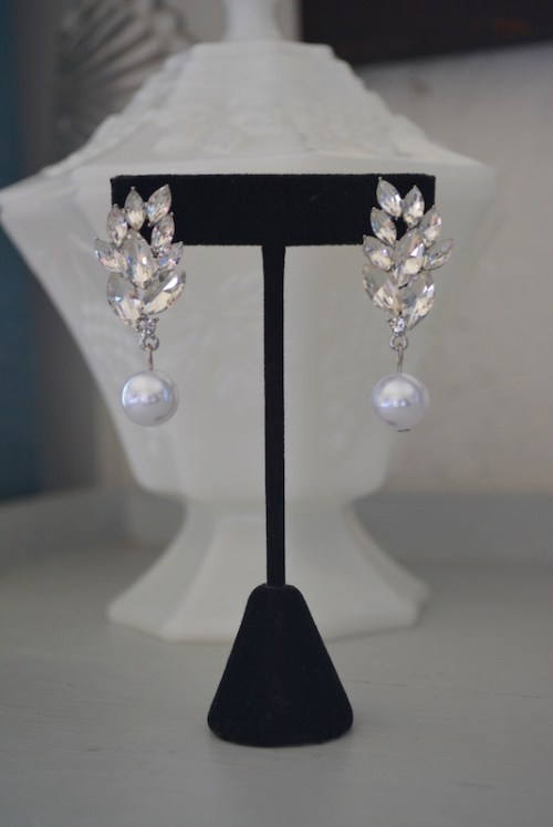 Pearl Drop Earrings, Pearl and Rhinestone Earrings,Rhinestone Earrings, Rhinestone and Pearl Earrings