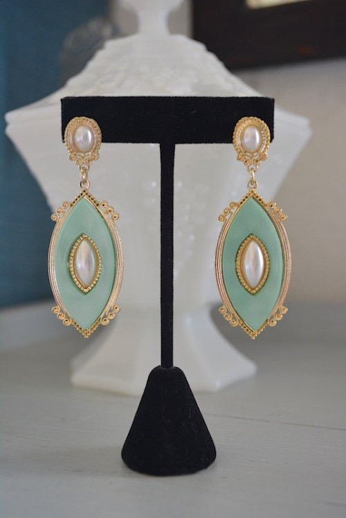 Mint and Pearl Earrings, Mint Earrings, Pearl Earrings,Drop Earrings