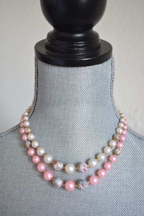 Pink and White Necklace,Vintage Pink Necklace,Vintage Pearl Necklace, Pink and White Beaded Necklace