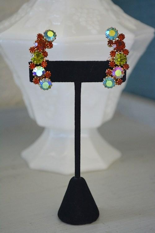 Crescent Earrings, Karu Arke Earrings, Vintage Signed Earrings,Signed Costume Jewelry, Karu Arke