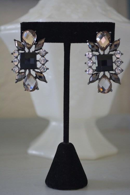 Black and Rhinestone Earrings,Black Earrings,Black Rhinestone Earrings,Grey Rhinestone Earrings,Rhinestone Earrings
