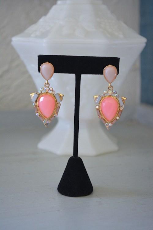 Pastel Pink Earrings,Pink Earrings,Pinks Earrings,Baby Pink Earrings, Ice Pink Earrings,Pink and Gold Earrings