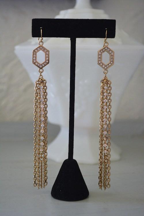Chain and Rhinestone Earrings,Fringe Earrings,Chain Fringe Earrings, Long Gold Earrings,Studio 54, 70s Disco, Gold Chain Earrings