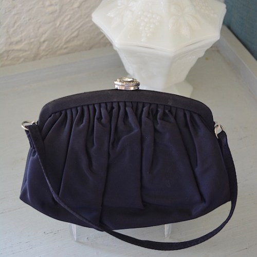 Navy Purse, Vintage Navy Purse, Garay, Garay Purse, Blue Purse, Dark Blue Purse