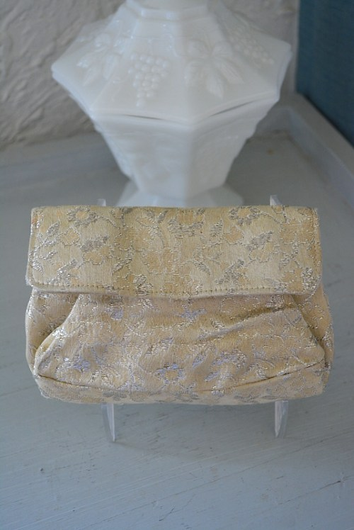 Coin Purse, Brocade Purse,Vintage Purse, Ivory Purse, Brocade Coin Purse