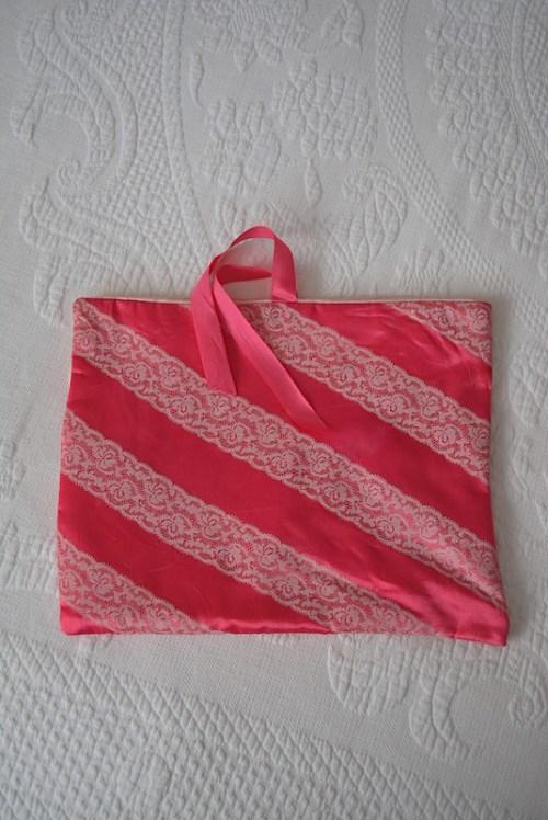 Bright Pink Lingerie Bag,Pink Lingerie Bag,Vintage Lingerie Bag,Vintage Bag, Travel Bag, Schiaparelli Bag, Schiaparelli, Lace Lingerie Bag