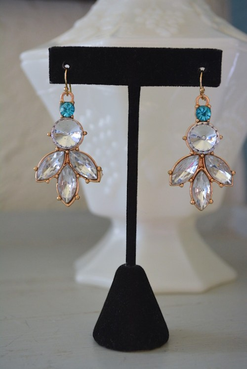 Rhinestone and Aquamarine Drop Earrings,Bridal Earrings,Bride,Rhinestone Earrings,Blue and White Earrings,Aquamarine Earrings