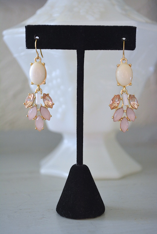Ivory and Pink Earrings, White and Pink Earrings, Pale Pink Earrings