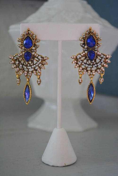 Sapphire Fan Earrings, Sapphire Earrings, Fan Earrings, Victorian Earrings, Victorian Earrings, Blue Earrings