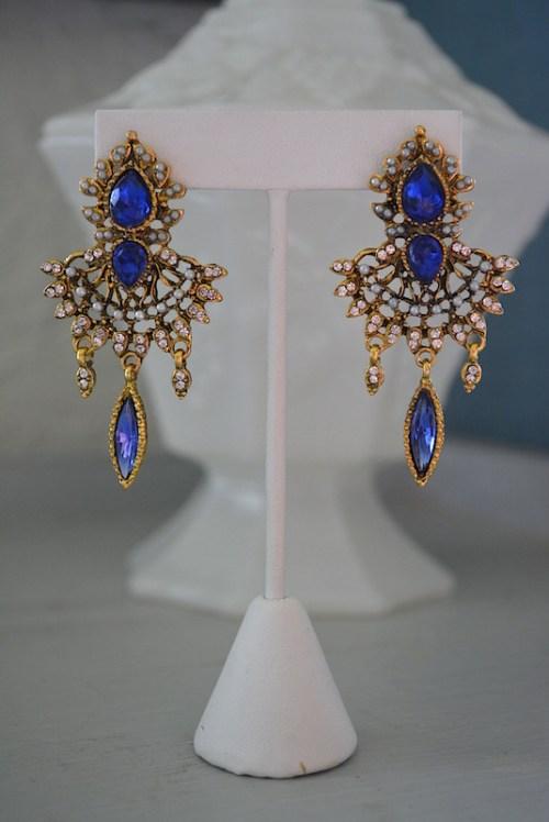 Sapphire Fan Earrings, Sapphire Earrings, Fan Earrings, Victorian Earrings, Victorian Earrings, Blue Earrings