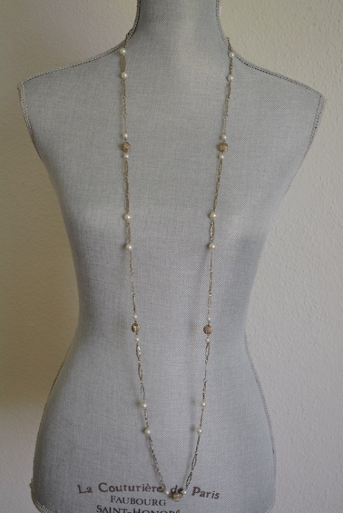Long Gold and Pearl Necklace, Long Gold Necklace, Vintage Long Necklace, Gold and Pearl Necklace