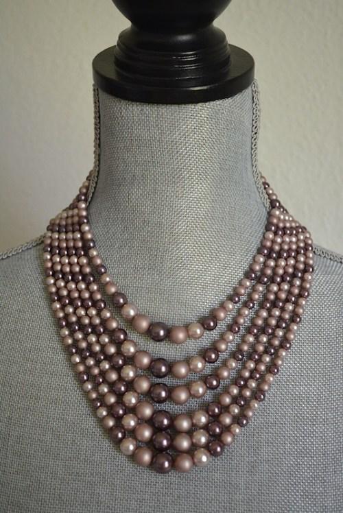 Mauve Beaded Necklace, Mauve Necklace, Purple Necklace, Taupe Necklace, Rose Necklace, Dusty Rose Necklace, Vintage Beaded Necklace