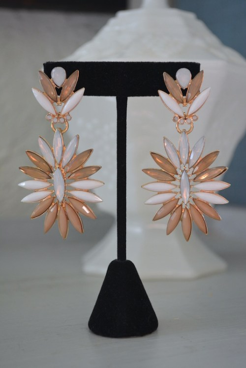 Tan Marquise Earrings. Tan Earrings, Neutral Earrings, Marquise Earrings, Statement Earrings, Tan and White Earrings, Light Brown Earrings