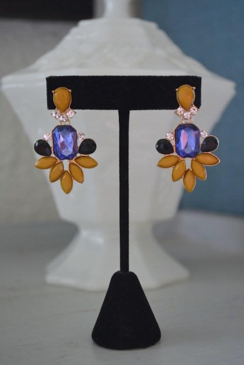 Mustard Earrings, Yellow Earrings, Dark Yellow Earrings, Yellow and Purple Earrings