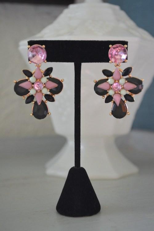 Pink and Black Earrings, Statement Earrings, Pink Statement Earrings, Black Statement Earrings, On Sale