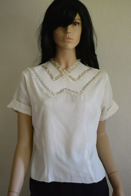 White Blouse, Vintage White Top, White Top, Vintage Clothes, Vintage Blouse, Lace Top