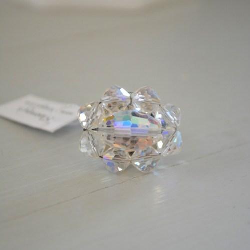 Crystal Ring, Repurposed Jewelry, Handmade Ring, Vintage Parts, Clear Ring, Crystal Ring, Crystal Jewelry, Swarovski Beads