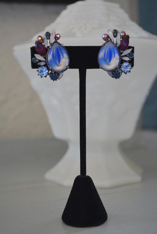 Blue Fan Earrings, Florenza Earrings, Florenza, Florenza, Vintage Signed Costume Jewelry, VIntage Earrings, Vintage Florenza Earrings