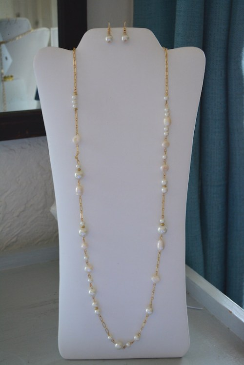 Pearls Necklace Set, Long Pearl Necklace, Necklace and Earrings, Pearl Necklace and Earrings, , Pearls and Gold Jewelry