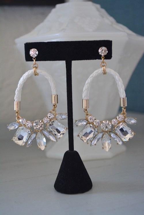 White Rope Earrings, Nautical Earrings, Nautical Jewelry, Nautical, Nautical Rhinestone Earrings, White Earrings, White Jewelry, Braided Rope Earrings