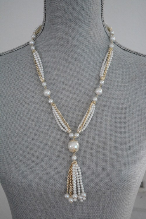 Pearls Tassel Necklace, Pearls and Chains Necklace, Pearl Necklace Pearl Tassel Necklace, Tassel Necklace,