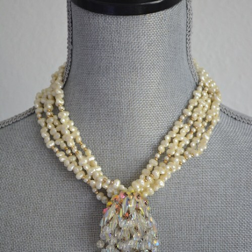 Crystal Chandelier Necklace, Pearl Necklace, Saltwater Pearls Necklace, Repurposed Jewelry, Repurposed Necklace, Vintage Parts, Crystal Necklace, Swarovski Necklace, Chandelier Jewelry