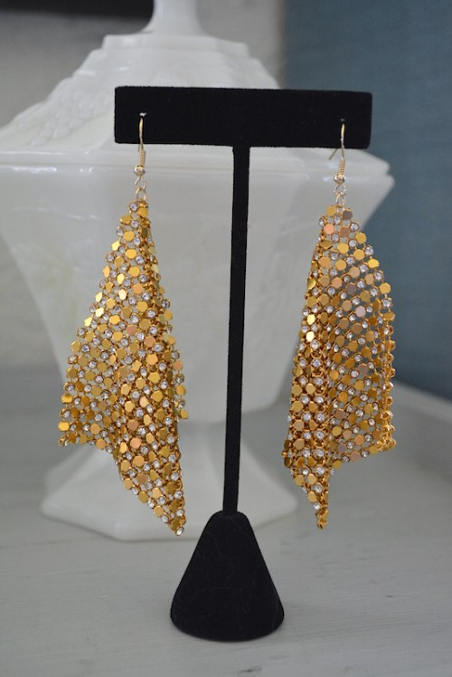 Gold Mesh Earrings, Mesh Earrings, Mesh Jewelry, 1970's Jewelry, Disco Earrings, 70s Disco, Studio 54