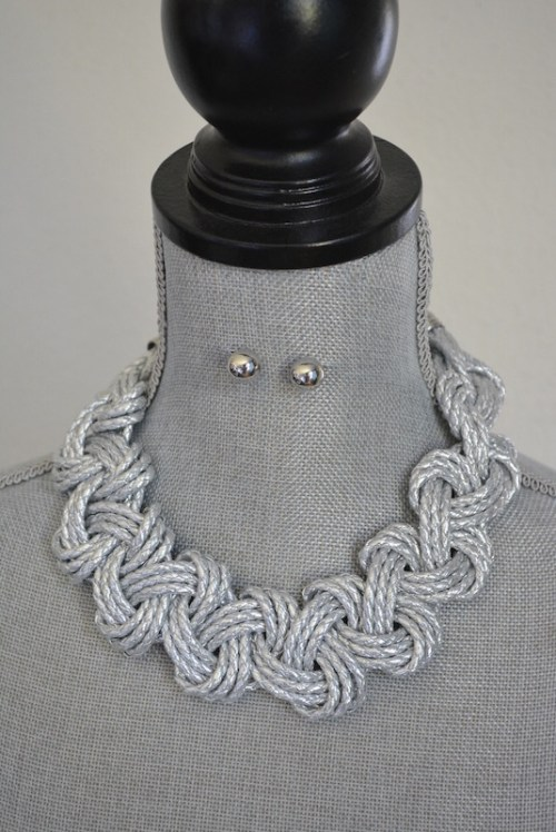 Silver Braided Necklace Set, Necklace and Earrings, Silver Jewelry, Silver Necklace and Earrings, Nautical Jewelry, Rope Jewelry, Braided Jewelry