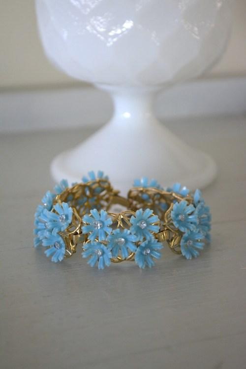 Blue Flowers Bracelet, Blue Bracelet, Flowers Bracelet, Flower Bracelet, Flower Jewelry