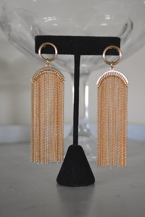 Gold Chains Earrings, Gold Earrings, Gold Earrings, Gold Fringe Earrings, Fringe Earrings, Studio 54