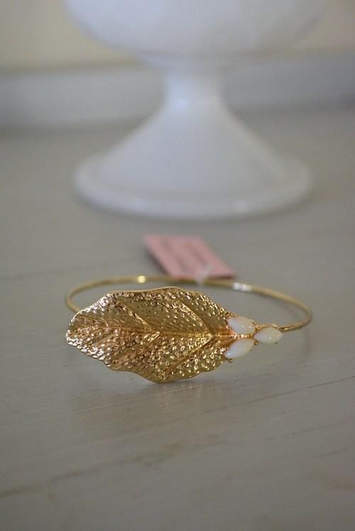 Gold Leaf Bracelet, Leaf Jewelry, Leaf Bracelet