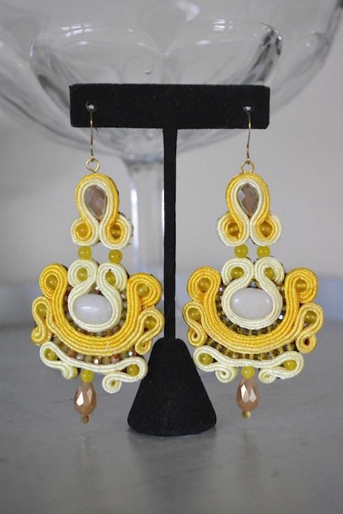 Yellow Cord Earrings, Sari-Inspired Jewelry, Yellow Earrings, Cord Earrings