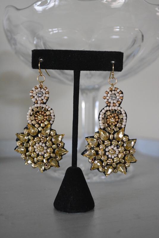 Gold Beaded Earrings, Gold Earrings, Beaded Earrings, Beaded Jewelry, Boho Style