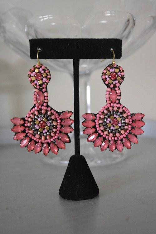 Salmon Beaded Earrings, Pink Earrings, Pink Beaded Earrings, Boho Jewelry, Pink Earrings